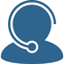 blue icon of a customer service person with a headset