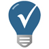 blue lightbulb icon with a checkmark in the middle