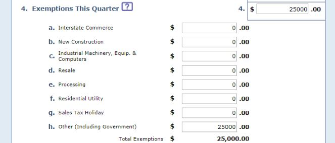 "screenshot of ""exemptions this quarter"" form field"