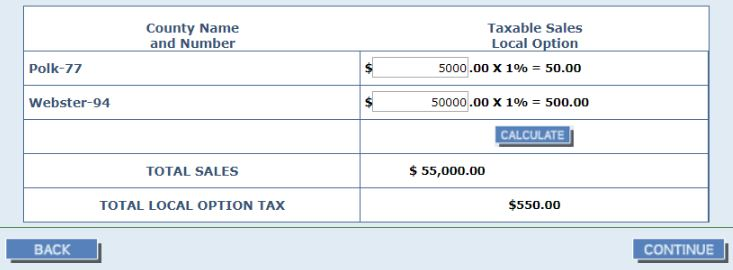 screenshot of sales tax calculations form