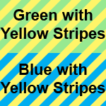 green with yellow stripes and blue with yellow stripes icon